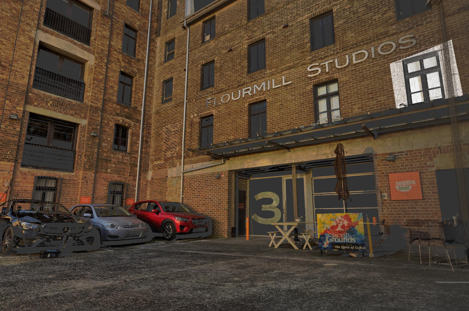 3D laser scanning of the Flourmill Studios in Gladstone Street
