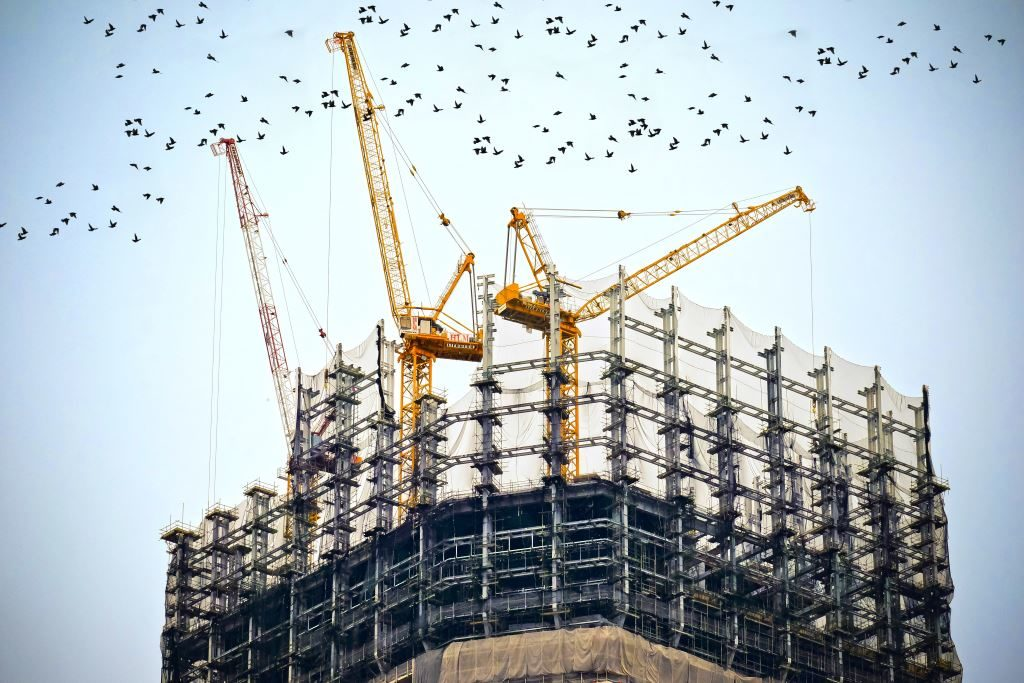 tall building under construction with flock of birds above